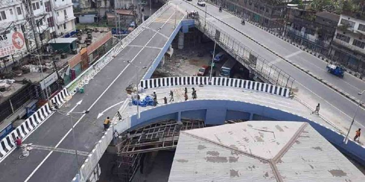 The newly constructed flyover in Guwahati before inauguration