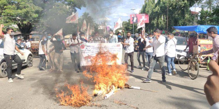 AASU burns effigy of JP Nadda