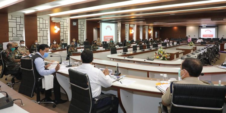 Assam CM Sarbananda Sonowal in a strategy meeting of Unified Command at Assam Administrative Staff College on Saturday.