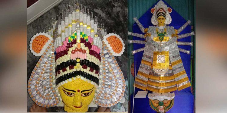 Durga idol with expired medicines