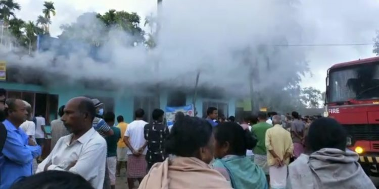 Assam: Fire breaks out at Canara bank branch in Pathsala 1