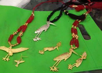 Assamese Jewellery with Greater Adjutant stork