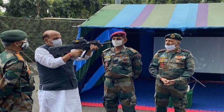 Defence minister Rajnath Singh at Sukna.