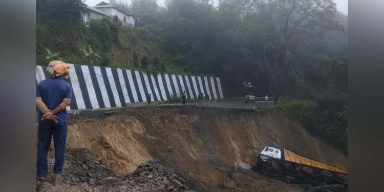 Landslide-hit road construction