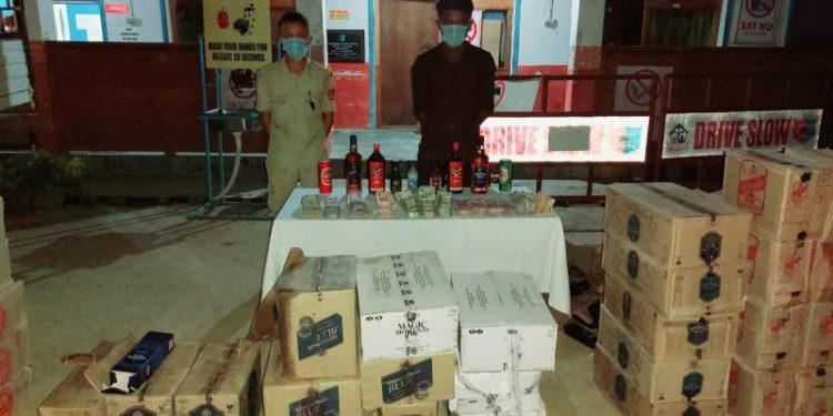 Security forces seize illgal liquor at 7th Mile in Dimapur on September 3.