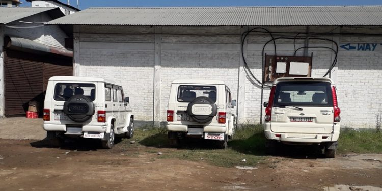 Some of the government vehicles seized in Dimapur on Monday.