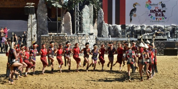 A cultural troupe performing during the Hornbill Festival 2019 at Naga Heritage Village at Kisama near Kohima (File)