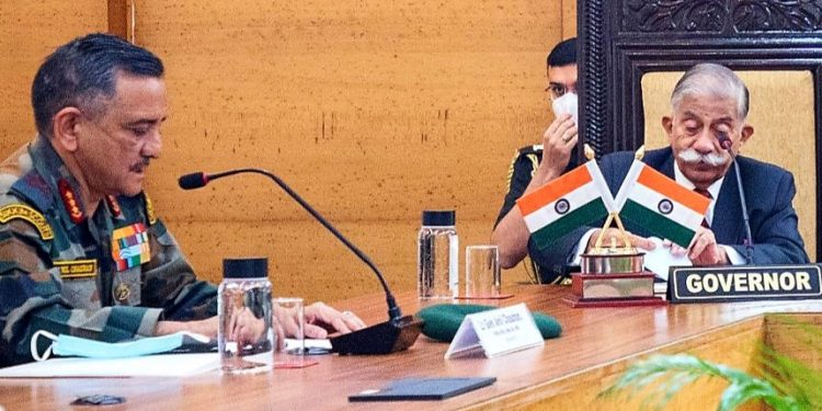 Governor Brig (Retd) B D Mishra chaired a security meeting with CM Pema Khandu and Eastern Army Commander Lt Gen Anil Chauhan in Itanagar.