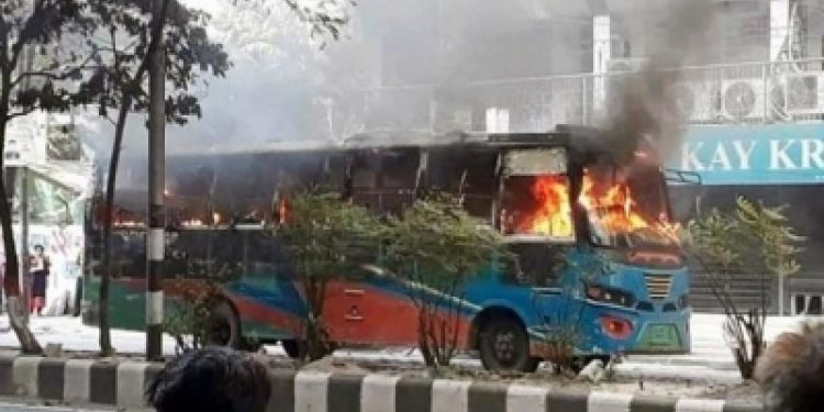 Bangladesh: BNP workers set 7 buses on fire in Dhaka 1