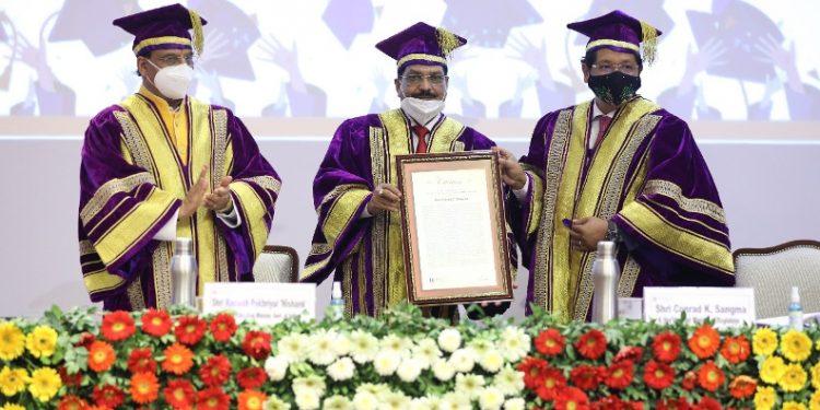 Meghalaya CM Conrad K Sangma was conferred with the Honorary Degree 'Honoris Causa' by the Sharda University.