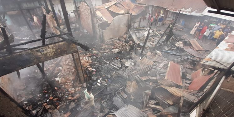 Police said of the 14 shops, nine were completely destroyed in the blaze.