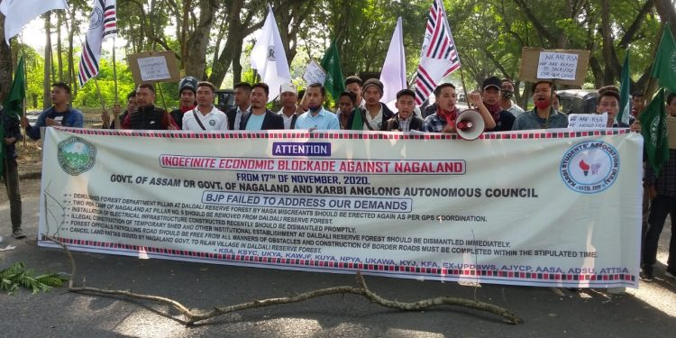 12 organisations launch economic blockade against Nagaland in East Karbi Anglong.