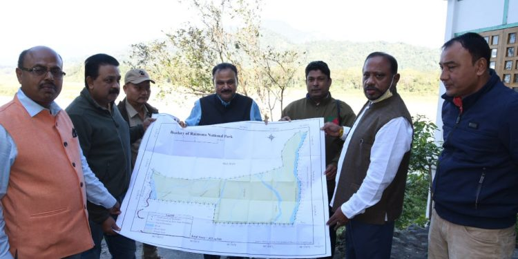 Forest minister Parimal Suklabaidya releases the map of the proposed Raimona National Park on Saturday. Image credit: Twitter.