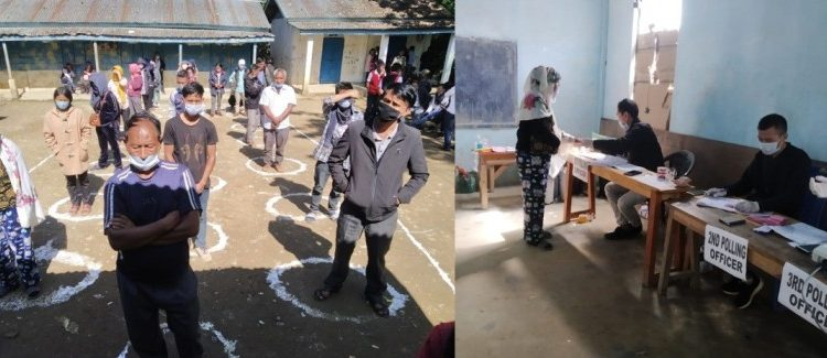 Repoll underway at a polling station in 60 Pungro-Kiphire Assembly constituency on Saturday.