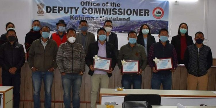Reprsentatives of three tobacco free villages with certificates at Kohima deputy commissioner's office on Wednesday. Image credit - Northeast Now