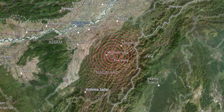 The quake hit the Mokokchung region at 8:59 am.