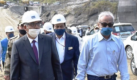 Power ministry secretary Sanjiv Nandan Sahai visited the project site on Friday at Gerukamukh to review the on-going construction activities.