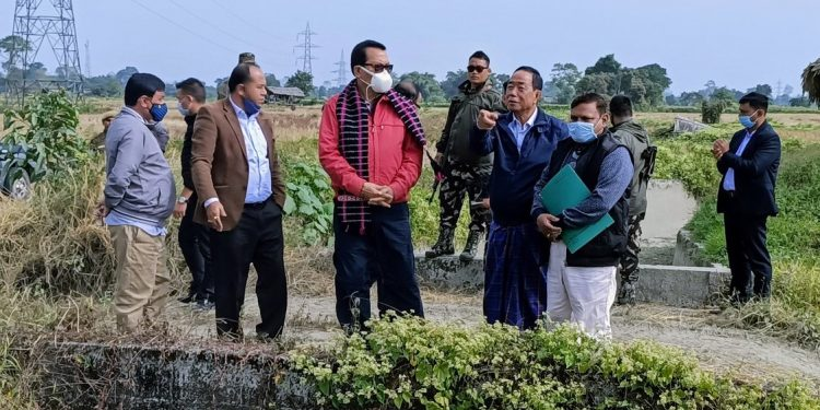 Arunachal Pradesh deputy CM Chowna Mein took stock of the progress of construction work on Irrigation Project (MIP) at Chowkham in Namsai district.