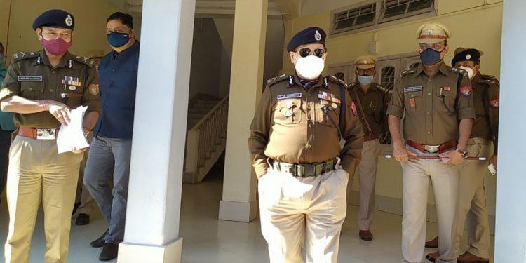 Assam DGP Bhaskar Jyoti Mahanta with other top police officials of BTR after a closed-door meeting in Kokrajhar