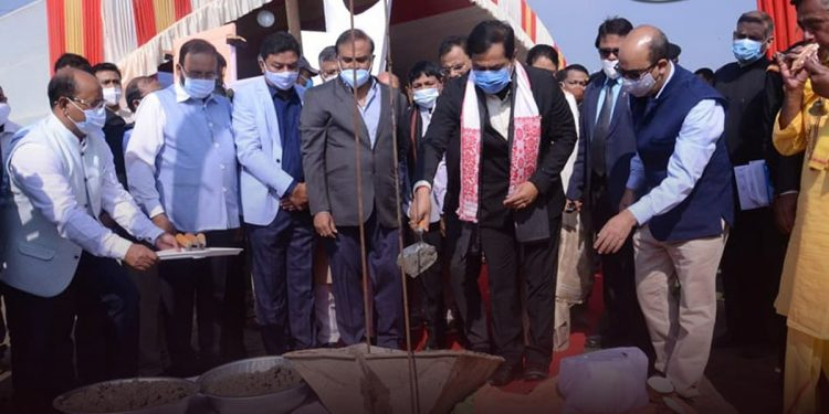 Assam Chief Minister Sarbananda Sonowal formally launching the construction work of Assam Movement martyrs' memorial.