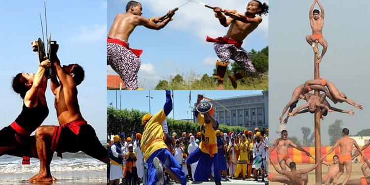 Clockwise: Karalipayattu, Thang-Ta, Mallkhamba and Gatka.