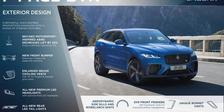 Jaguar has upgraded the F-Pace SVR performance SUV with improved torque and more features.