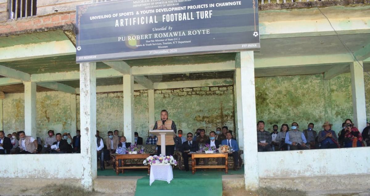 Mizoram sports minister Royte unveils laying of Astro Turf surface at Kamalanagar Football Ground 4
