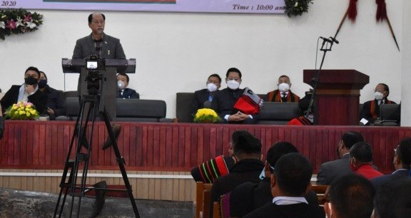Nagaland Chief Minister Neiphiu Rio speaking at the inaugural programme of Kigwema Village Council hall on Thursday.