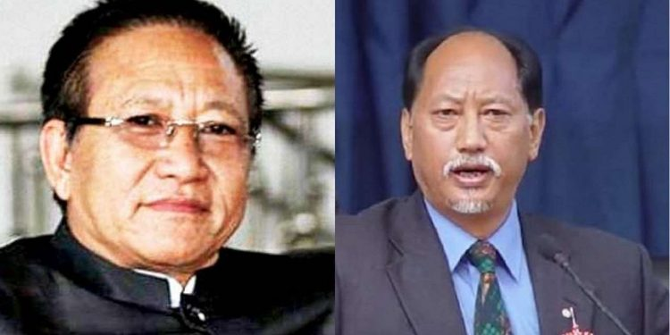 Nagaland chief minister Neiphiu Rio and opposition leader TR Zeliang.