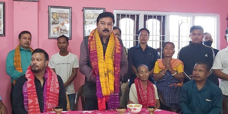 Assam BJP President Ranjit Dass at the residence of Bodofa Upendra Nath Brahma.