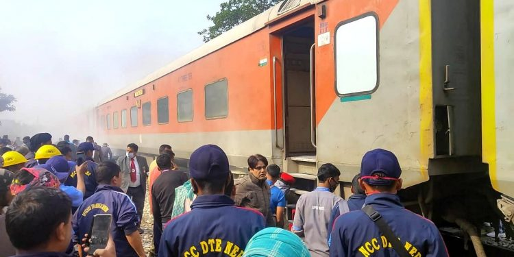 A coach of the train caught fire following which the railway staff detached it from the train. (File image)