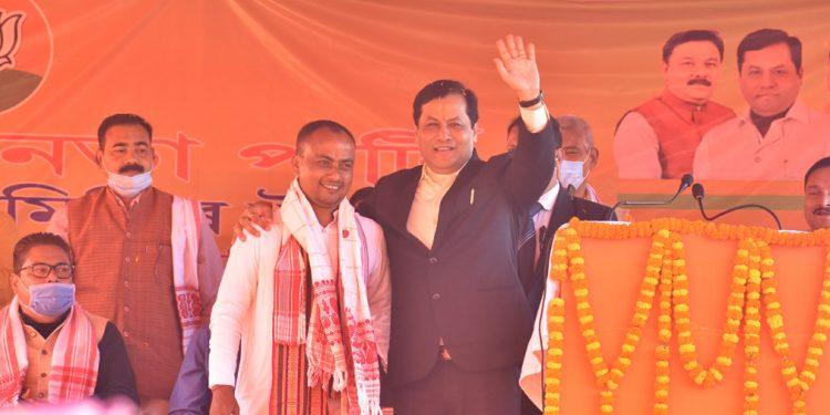Assam Chief Minster Sarbananda Sonowal while campaigning in Bodo Territorial Region on Thursday.
