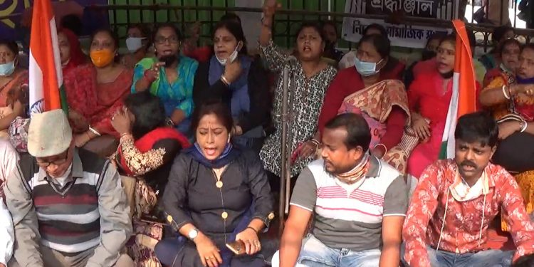 Protests by 10,323 terminated teachers in Tripura entered its fifth day on Friday.