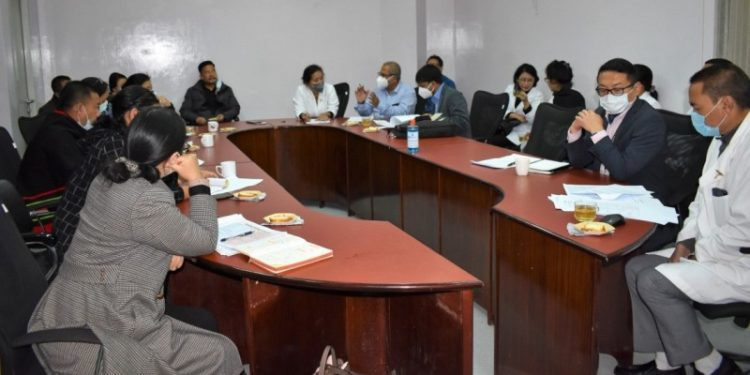 The central team reviews Covid-19 clinical managementiin Naga Hospital Authority in Kohima on Monday.