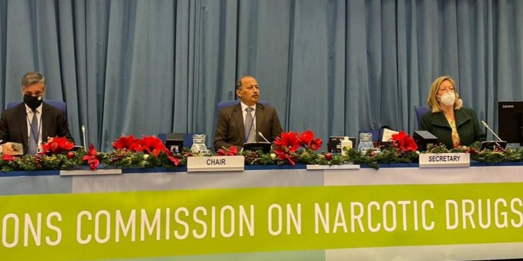 UN CND Chairman Mansoor Ahmad Khan opens voting on WHO recommendations on cannabis and cannabis-related substances.