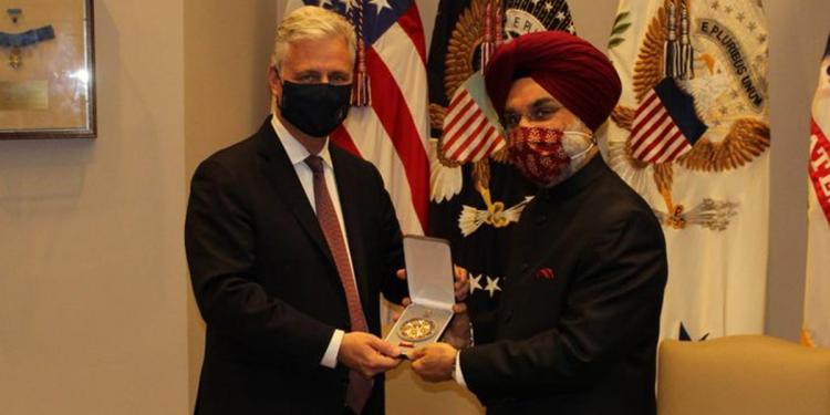 Taranjit Singh Sandhu, India's Ambassador to the US, accepted the award on behalf of Prime Minister Modi.