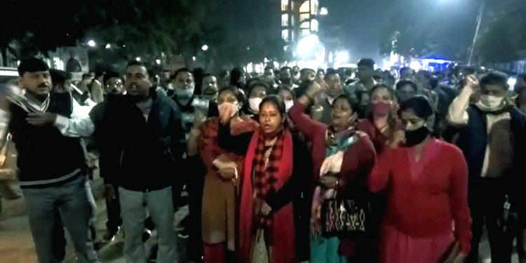 On Sunday evening, the terminated teachers organized a rally in Agartala city