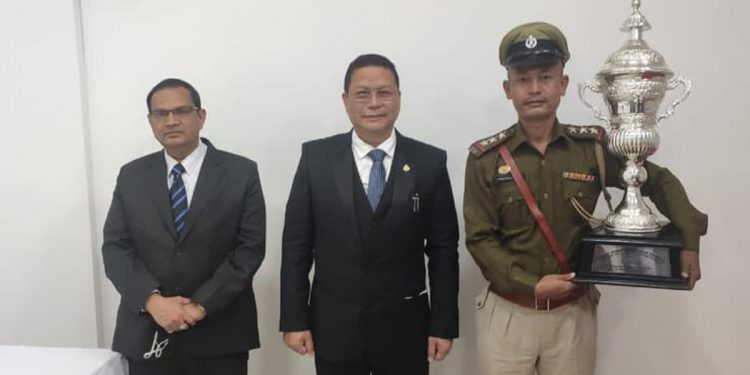 Trophy for Best Police Station handed over virtually by Union Home Minister Amit Shah to Insp K Premkumar Mangang,  Officer-in-Charge, Nongpok Sekmai Police Station.