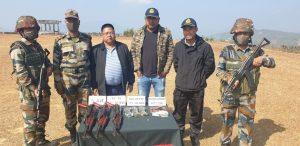 Mizoram: 3 AK-56 rifles, empty magazines and 2.3 lakh Myanmar currency seized by Assam Rifles 2