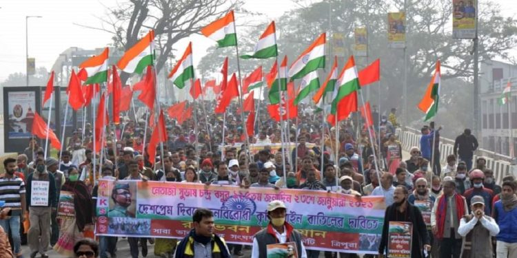 Tripura: Left Front-backed AIKSCC takes out rally in support of farmers' protest in Agartala 1