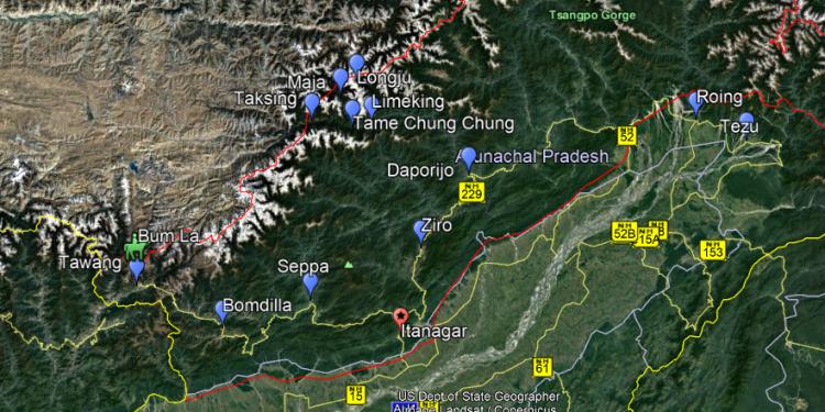 Satellite image of Indo-China border in Arunachal Pradesh.