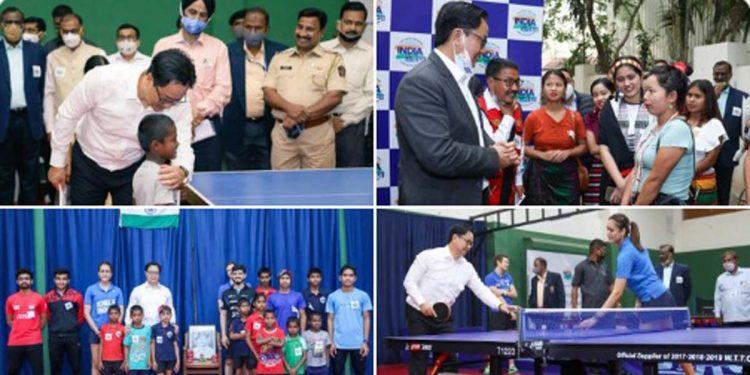 Union sports minister Kiren Rijiju at India Khelega Center, Pune.