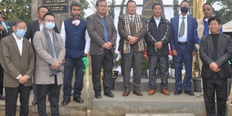 Nagaland Opposition leader TR Zeliang (centre) at the inaugural programme of Jalukie Pungchi village on Thursday.