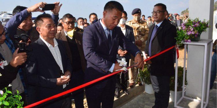 Nagaland Minister P Paiwang Konyak inaugurating the civil helipad in Zunheboto on Monday.