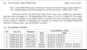 Northeast Frontier Railway continues cancellation of 6 special passenger trains' operations due to fog 1