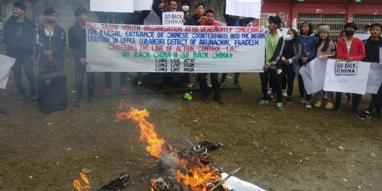 Chinese village in Arunachal Pradesh: AAPSU stages protest, people burn Xi Jingping's effigy 1