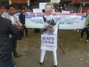 Chinese village in Arunachal Pradesh: AAPSU stages protest, people burn Xi Jingping's effigy 2