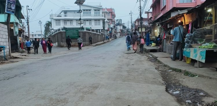 A road in Shillong wears a deserted look on Monday.