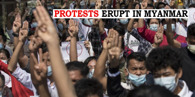 Myanmar erupts in protests, demonstrations galore across country against military coup 1