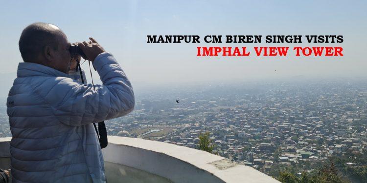 Manipur CM N Biren Singh during his visit to the Imphal View Tower.